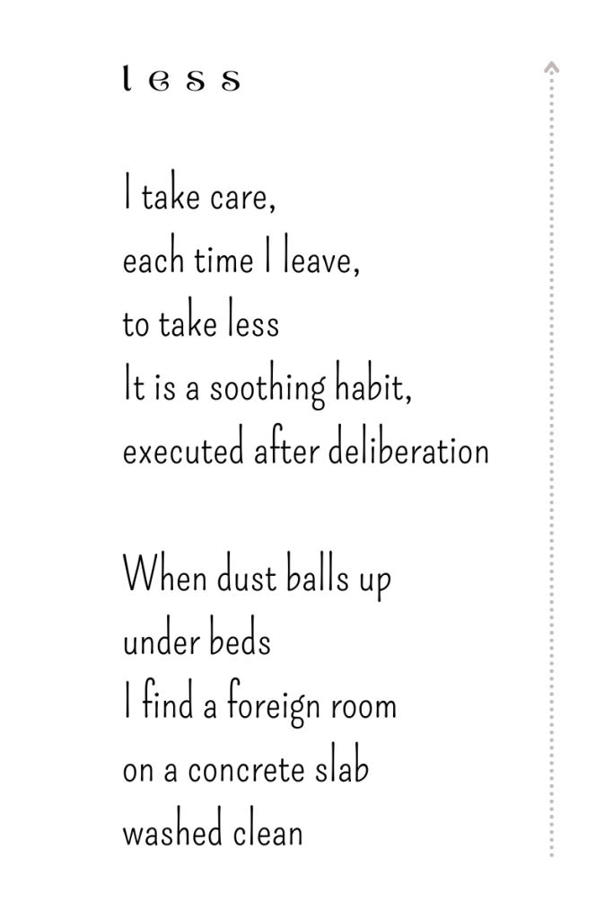 Less, a poem by Michele Damstra
