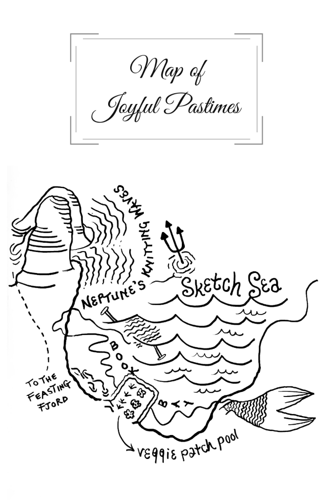 A Map of Joyful Pastimes by Michele Damstra. Neptune's trident, the Sketch Sea, Neptune's Knitting Waves, Book Bay, Veggie Patch Pool, the Feasting Fjord.